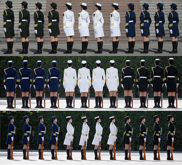 13名女兵是三军仪仗队刚成立的仪仗女兵分队的队员.这个高清图片