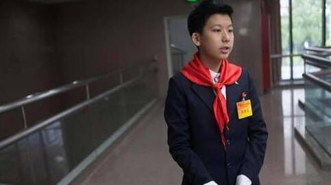 ,深圳两会上一初二少年引起关注.14岁的柳博作为深圳市青少年代图片
