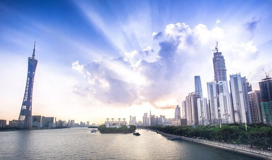 晚霞广州塔夜景图片