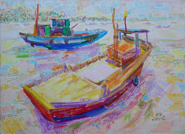 肖峰绘画:油画棒作品