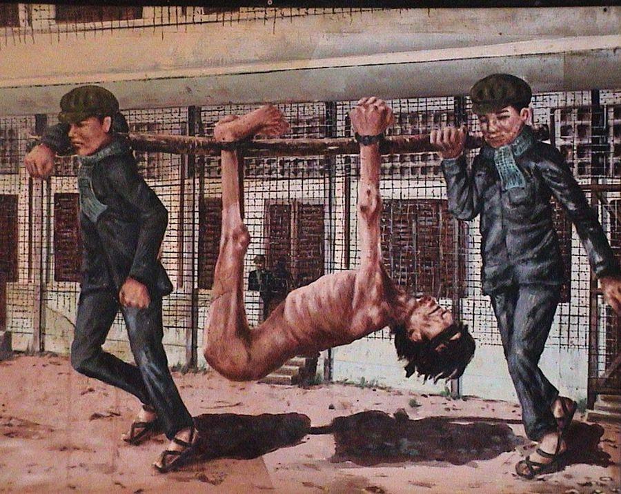 日军酷刑手绘黑白图片