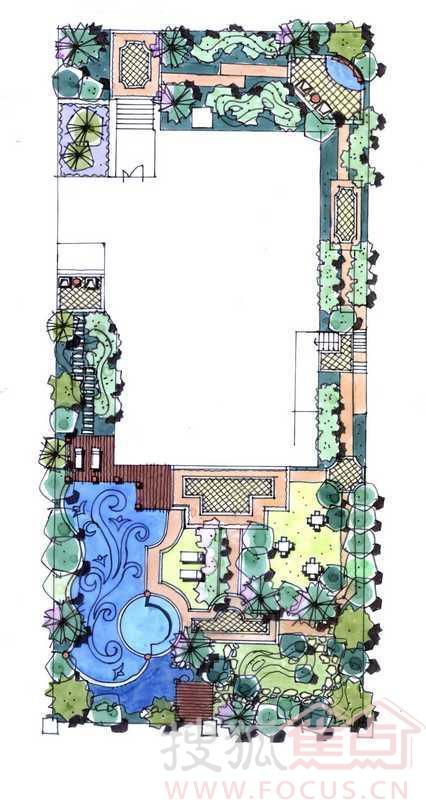 御江-独栋别墅样板房-景观园林总平面手绘图
