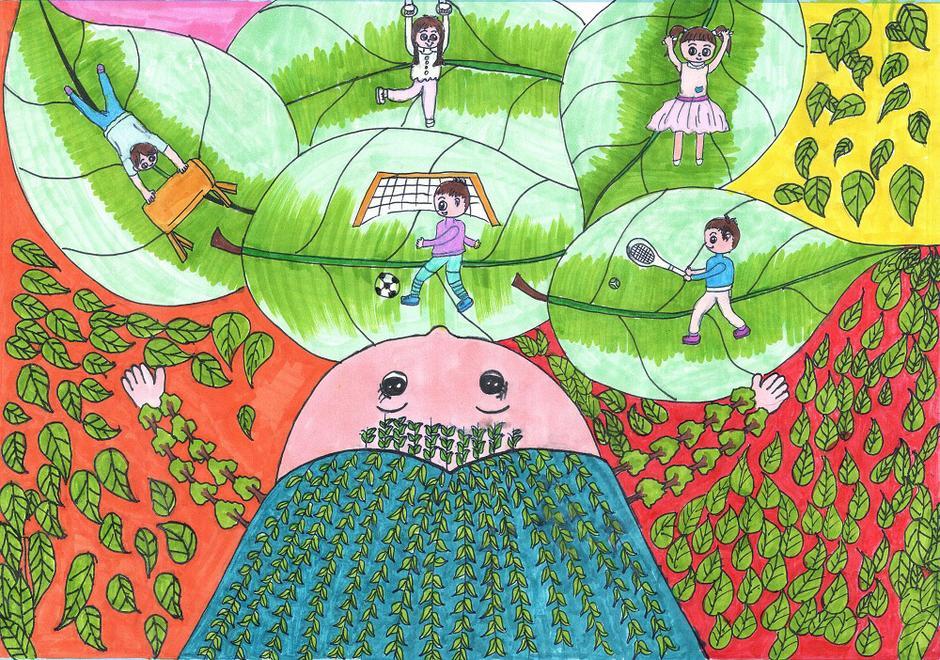 儿童画画呼吁植树