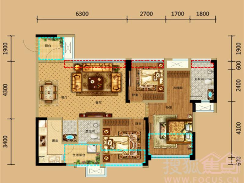 b户型面积为95平米,实得110平米,为三室两厅双卫设计.