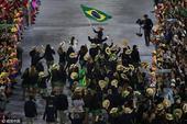 高清图:巴西代表团掀起绿色风暴 热情引人注目