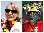 高清图:德国加纳球迷对决 表情帝碰撞清新美女