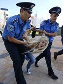 高清:乌克兰裸女决赛前示威 警方出动遏制骚乱