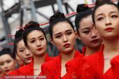 2016F1中国站排位赛 模特旗袍亮眼筷子盘头(图)