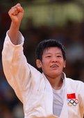 高清图:女子柔道中国胜波兰 陈飞晋级握拳庆祝