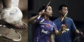 独家图:中国羽球队训练写真 型男搭配破旧球拍