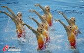 北京时间2012年7月25日, 2012年伦敦奥运会,中国花样游泳队训练备战。