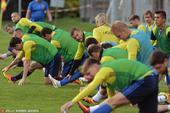 高清图:乌克兰前锋击掌贺进球 众将赛前齐压腿