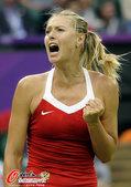 高清图:莎拉波娃横扫罗本森 握拳怒吼庆祝胜利