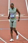 北京时间2012年8月6日,伦敦奥运会田径男子400米半决赛。独立运动员前荷属安的列斯出生的博内法夏...