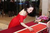 组图:潘晓婷在京出席活动  一席红裙小露香肩