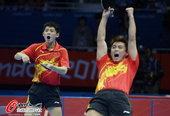 高清图:男乒团体中韩对决 国乒横扫怒吼庆胜利