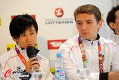 高清图:奥地利乒球队开发布会 施拉格眼含幽怨