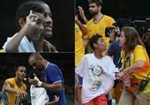 组图:小男孩冲入排球场 受关照与巴西队员合影
