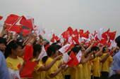 7月4日,境内陕西省西安市传递奥运圣火,结束仪式现场精彩表演(摄影:范帆;版权:搜狐奥运)