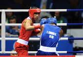 8月23日,英国选手詹姆斯・德盖尔在北京奥运会拳击75公斤级决赛中战胜古巴选手获得冠军。新华社/摄